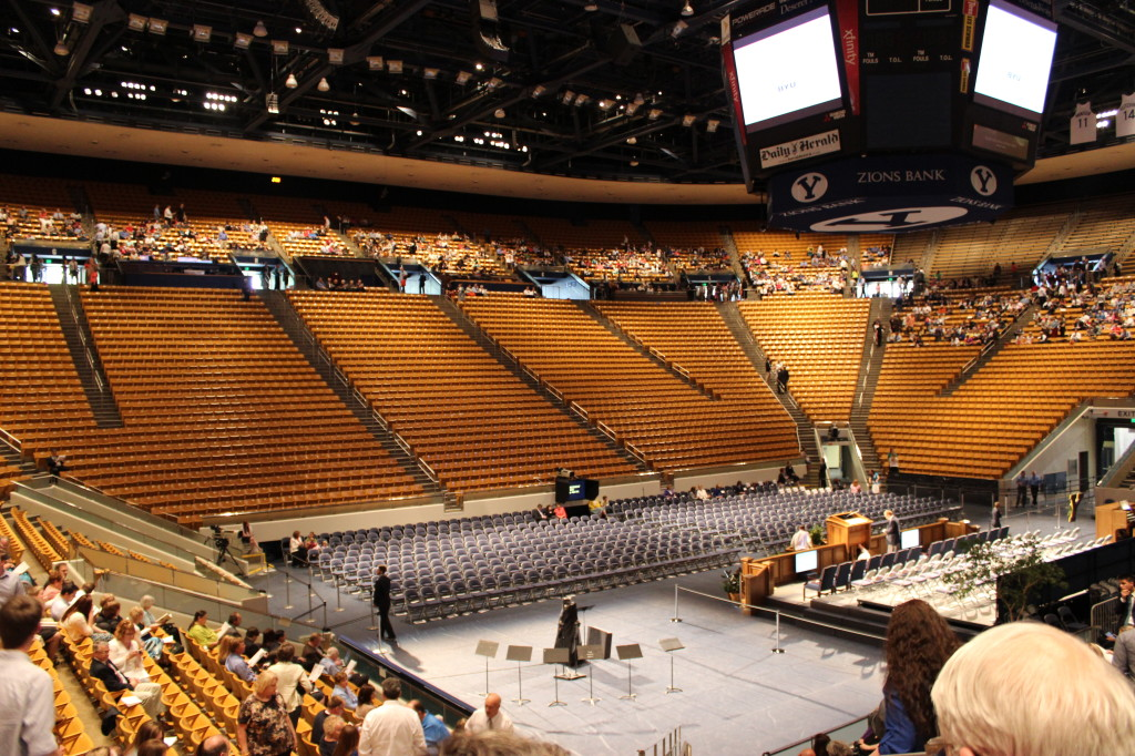 Marriott Center waiting for graduating class to enter